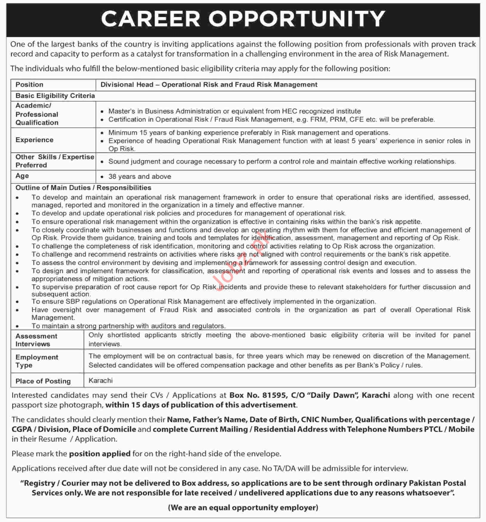 Divisional Head Jobs in Commercial Banks