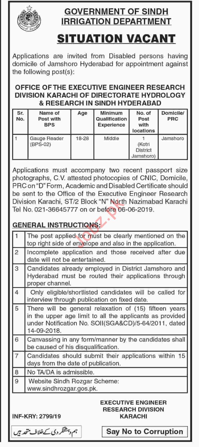 Executive Engineer Research Division Karachi Jobs 2019