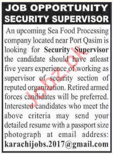Security Supervisor Job 2019 in Karachi