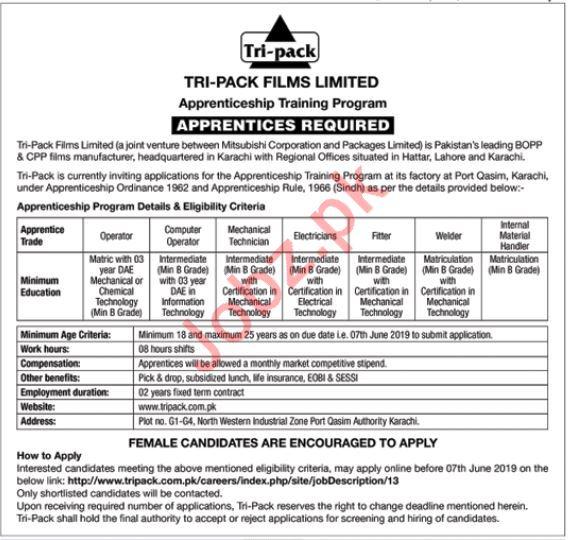 Tri Pack Films Limited Apprenticeship Training Program 2019