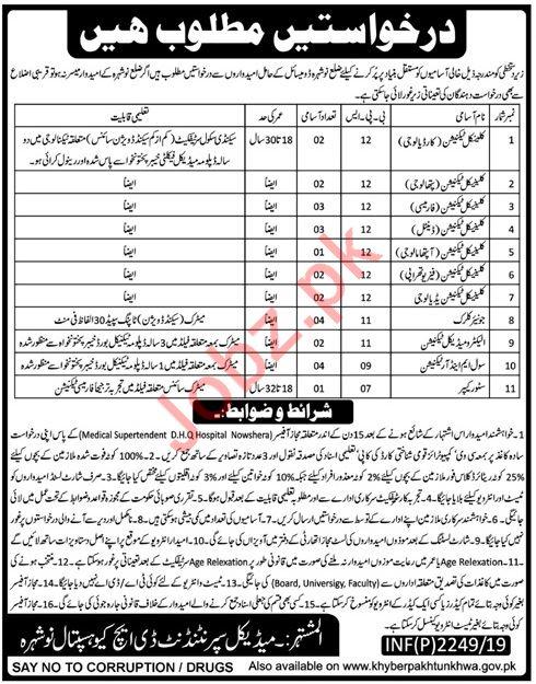 District Headquarter DHQ Hospital Jobs 2019 in Nowshera KPK