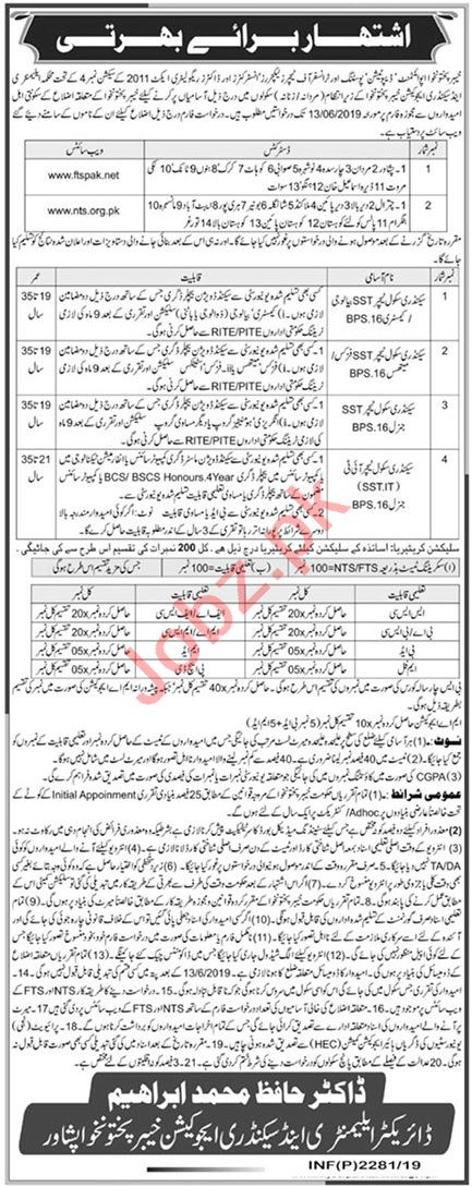 Elementary & Secondary Education Department Job KPK 2019 Job