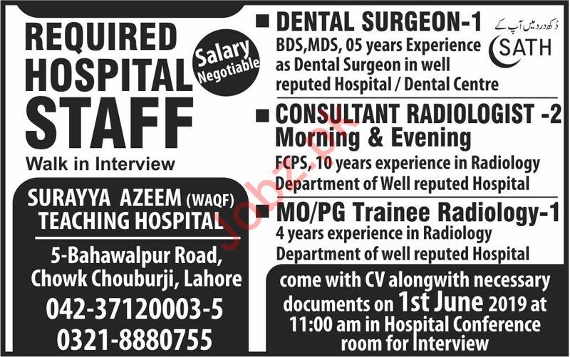 Medical Staff Jobs in Surayya Azeem Teaching Hospital