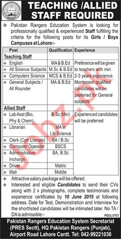 Pakistan Rangers Education System Jobs 2019 in Lahore Cantt