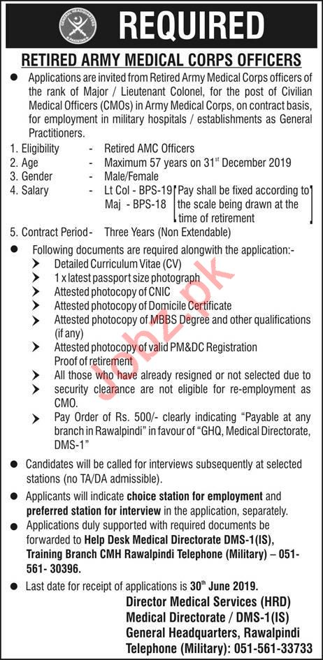 Retired Army Medical Corps AMC Officers Jobs For Rawalpindi