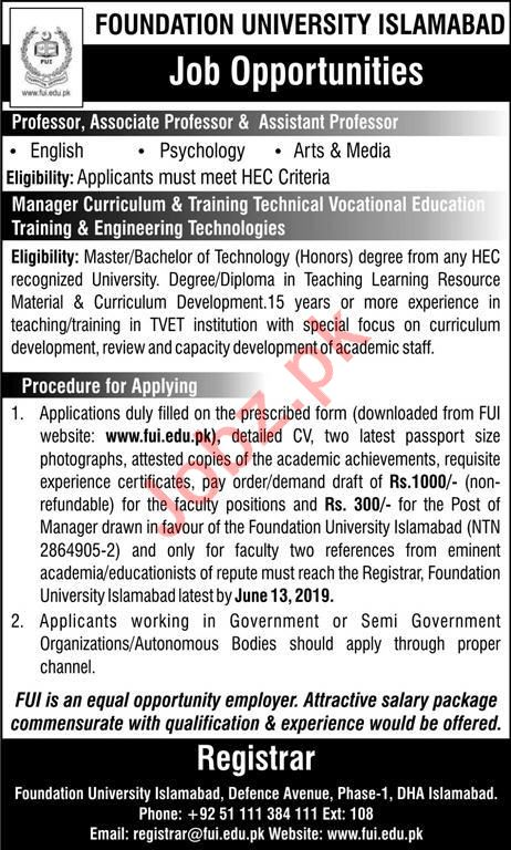 Foundation University Islamabad Teaching & Non Teaching Jobs