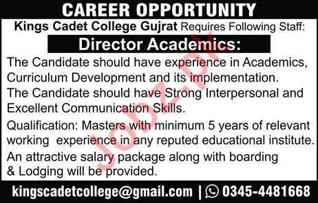 Kings Cadet College Gujrat Job 2019