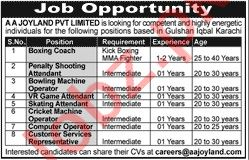 AA Joyland Private Limited Management Jobs 2019