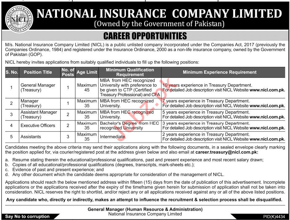 Management Jobs in National Insurance Company Limited