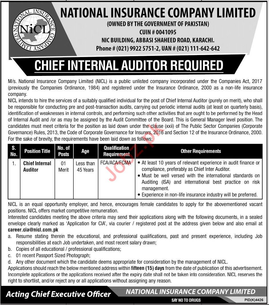 Internal Auditor Jobs in in National Insurance Company