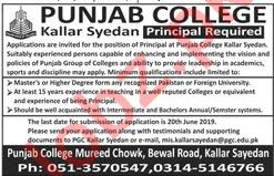 Punjab College Kallar Syedan Jobs 2019 for Principal