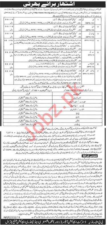 Elementary & Secondary Education Department Chitral Jobs