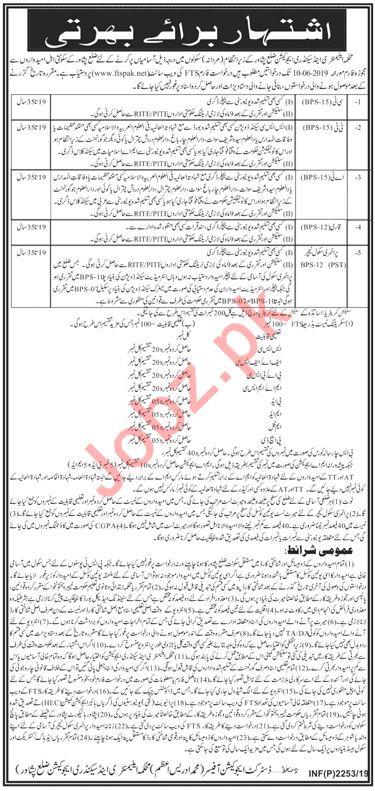 Elementary & Secondary ESED Peshawar Jobs for Teachers