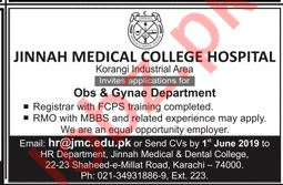 Jinnah Medical College Hospital Jobs 2019 in Karachi