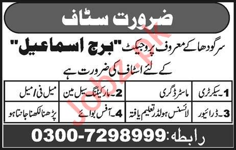 Secretary, Driver, Marketing Salesman & Office Boy Jobs 2019