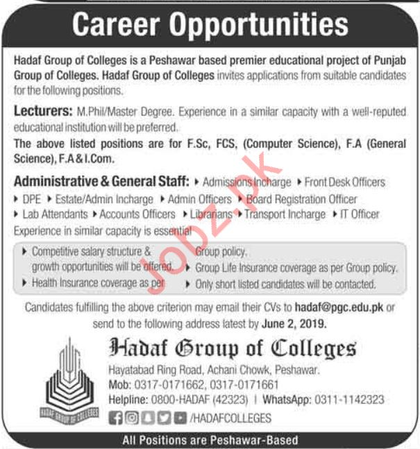 Lecturer Jobs in Hadaf Group of colleges