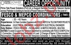 Prime Tele Power Solutions Lahore Jobs for Coordinators