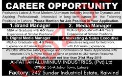 Al Fattah Aluminium Industries Lahore Jobs 2019 for Managers