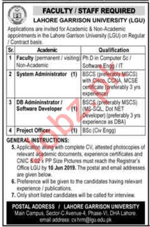 Lahore Garrison University LGU Teaching & Non Teaching Jobs