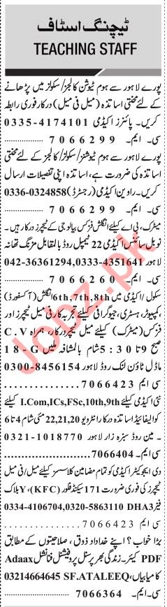 Jang Sunday Classified Ads 26th May 2019 for Teaching Staff