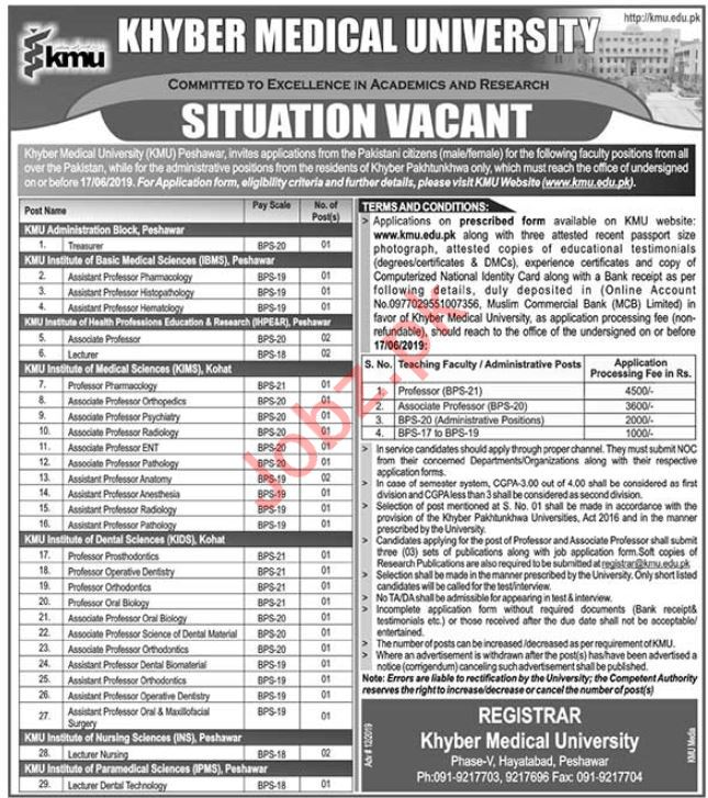 Khyber Medical University KMU Jobs 2019 in Peshawar KPK