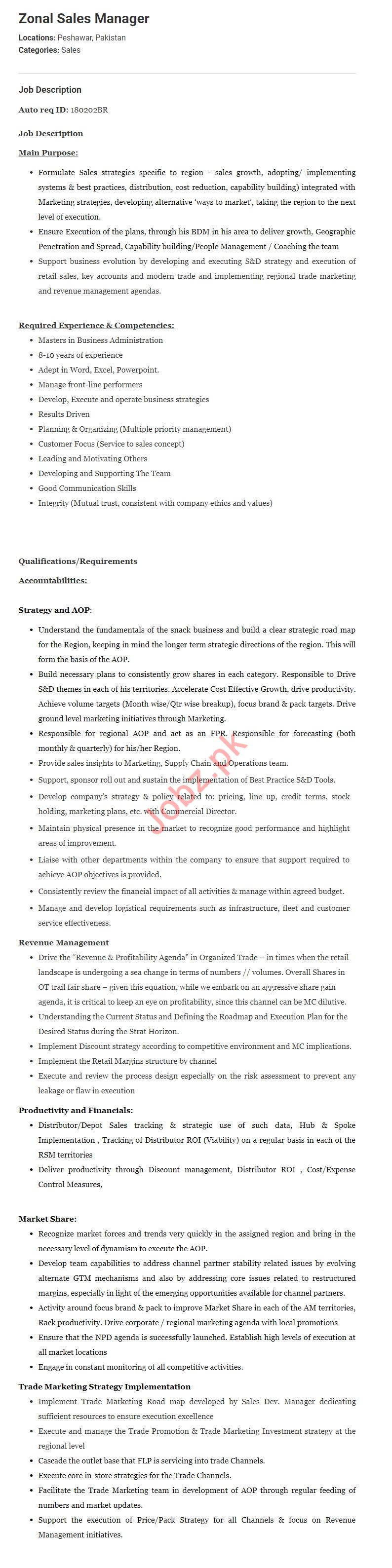 Zonal Sales Manager jobs in Pepsico 2019 Job Advertisement