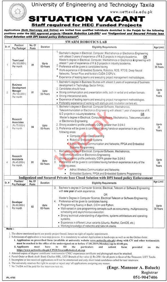 University of Engineering & Technology UET Taxila Jobs 2019