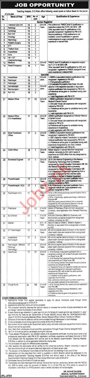 DHQ Teaching Hospital D G Khan Jobs for Medical Officers