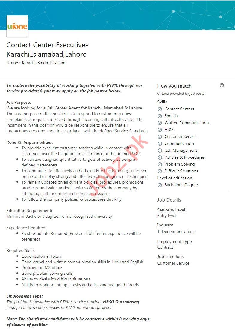 Contact Center Executive Jobs 2019 in Ufone Pakistan