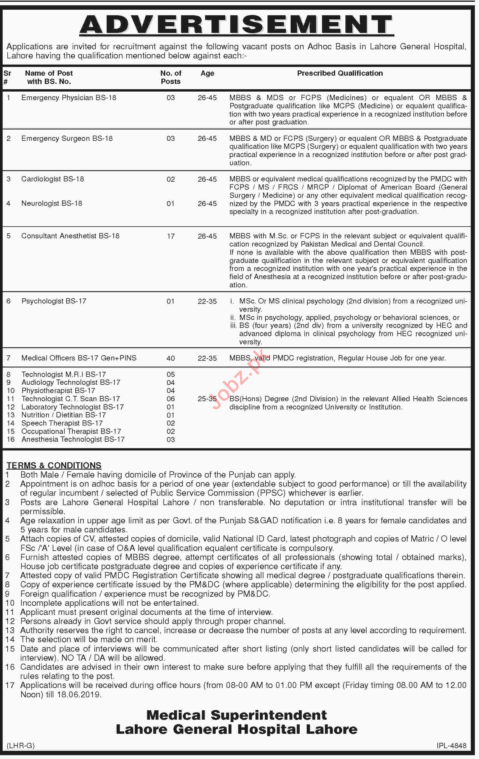 Lahore General Hospital LGH Jobs 2019 for Doctors