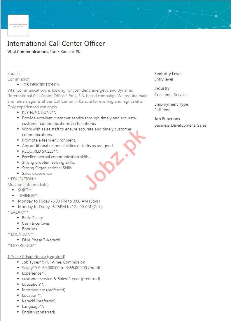 Vital Communications Karachi Jobs for Call Center Officer