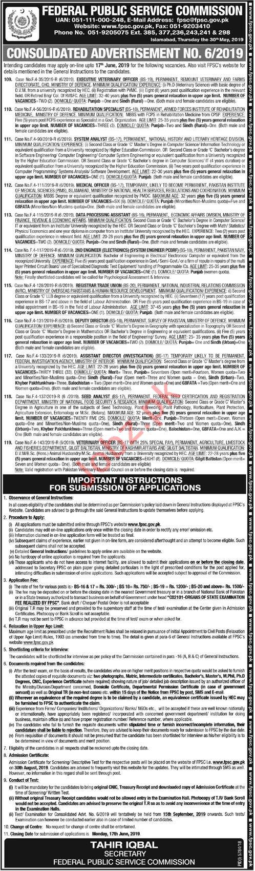 Federeal Public Services Commission FPSC Jobs 2019