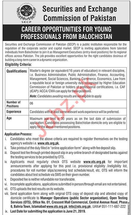 Securities & Exchange Commission of Pakistan VIA OTS