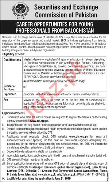 Securities & Exchange Commission of Pakistan Jobs via OTS