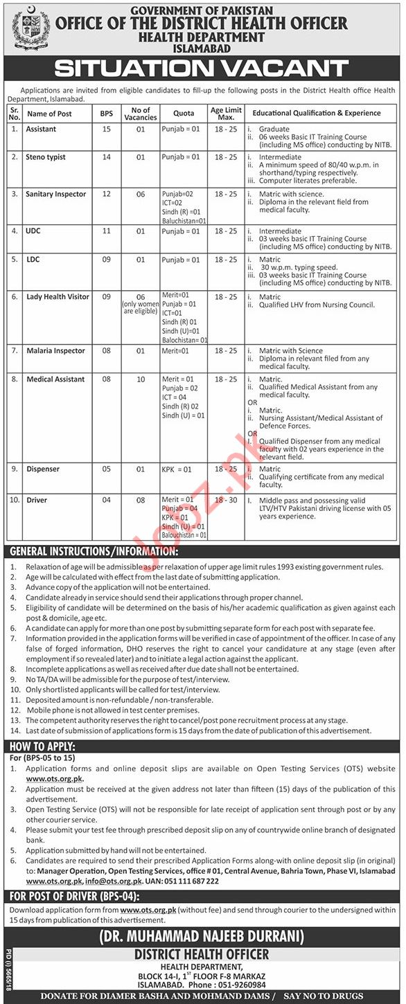 Health Department Clerical Staff Jobs 2019 Job Advertisement