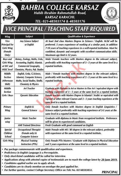 Bahria College Karsaz Jobs For Vice Principal & Teachers