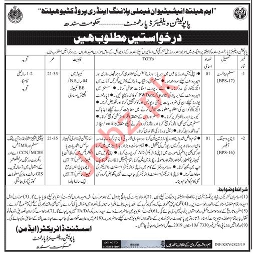 Population Welfare Department Job 2019 For Karachi 2019 Job