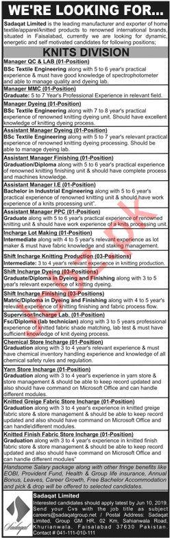 Sadaqat Limited Faisalabad Jobs 2019 for Managers 2019 Job