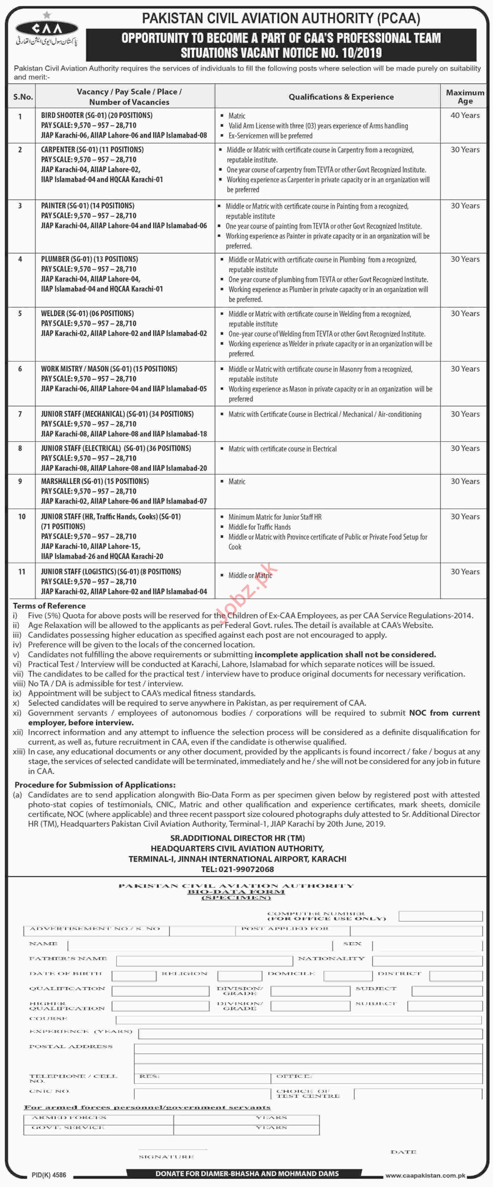 Pakistan Civil Aviation Authority PCAA Labor Staff Jobs 2019