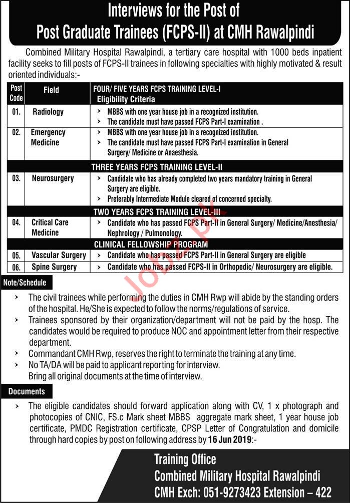 Combined Military Hospital CMH Rawalpindi Walk In Interviews