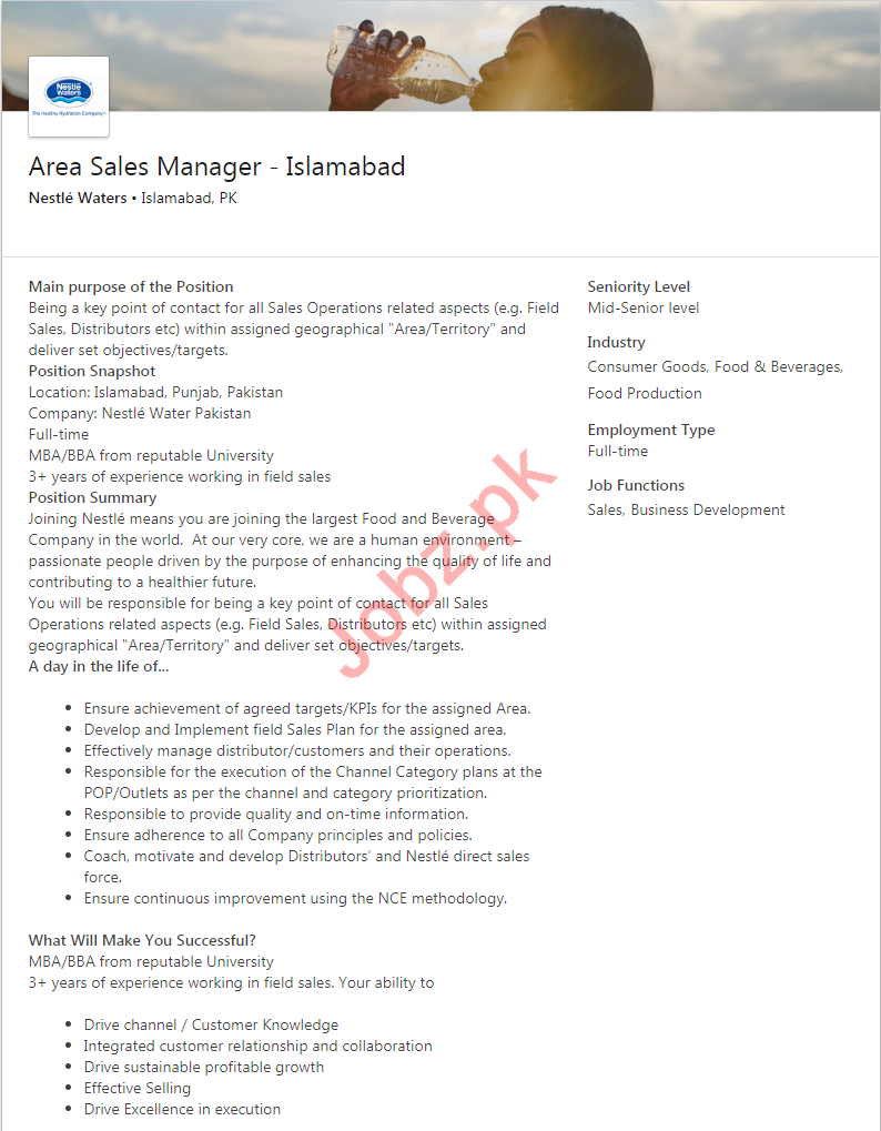 Nestle Waters Islamabad Jobs for Area Sales Manager