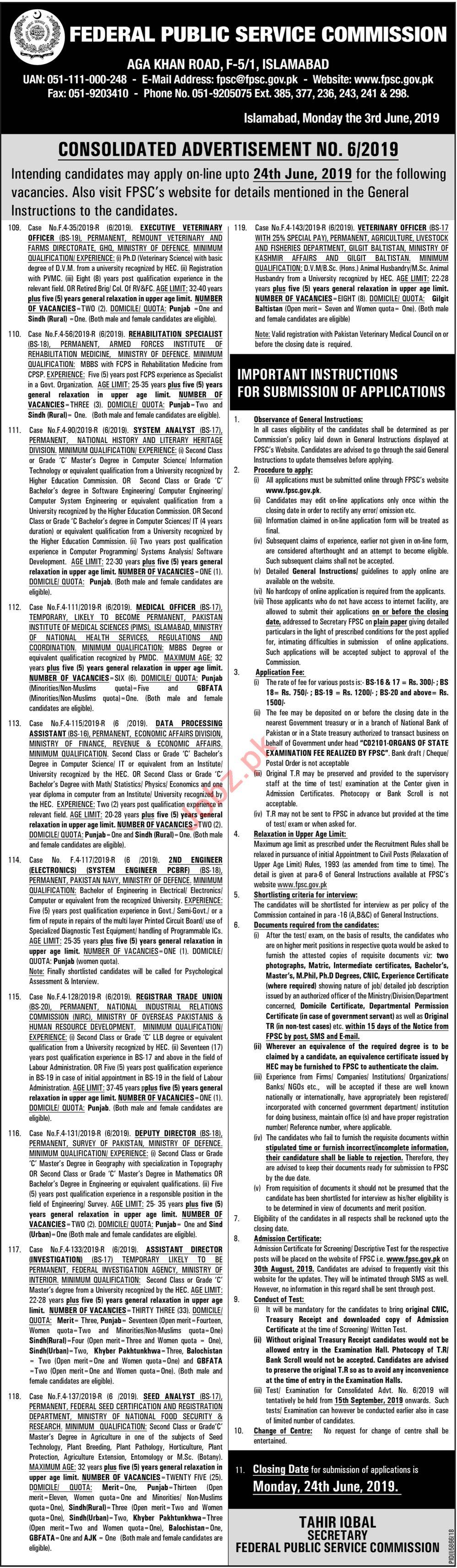 FPSC Jobs in Islamabad 2019