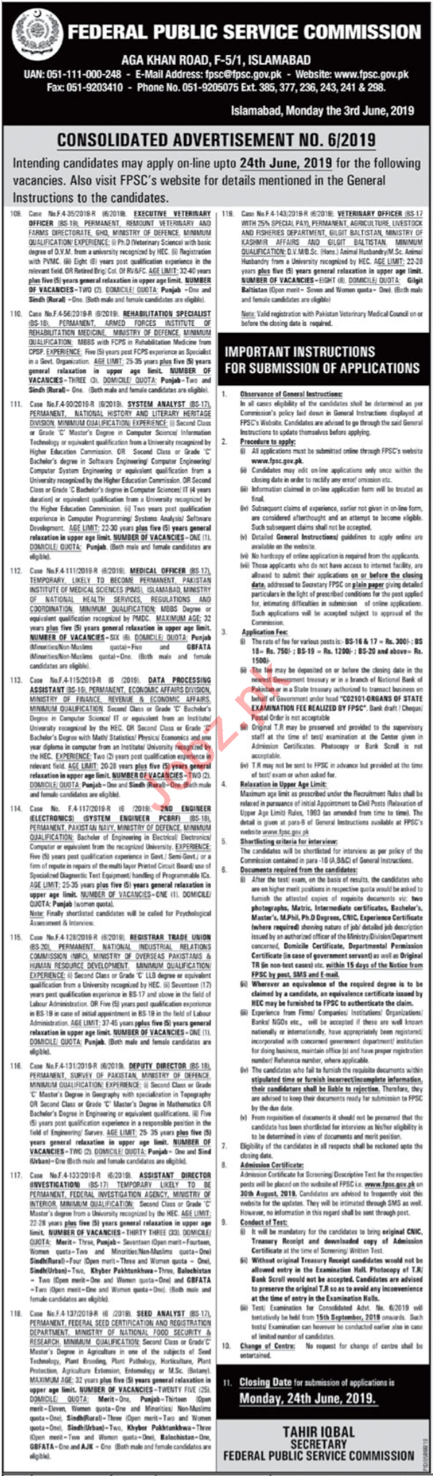 FPSc Jobs in Islamabad 2019