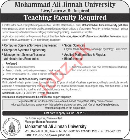 Mohammad Ali Jinnah University Teaching Faculty Jobs 2019