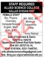 Allied Science College Kallar Syedan Campus Jobs 2019
