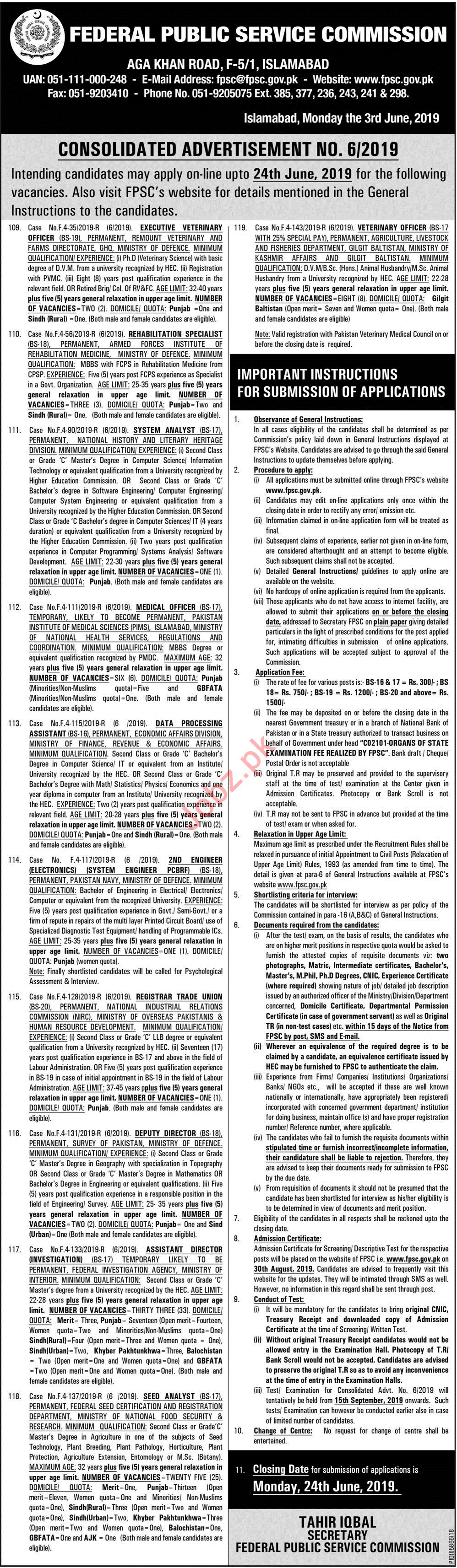 FPSC Federal Public Service Commission Islamabad Jobs 2019