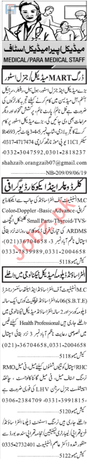 Jang Sunday Classified Ads 9th June 2019 for Medical Staff
