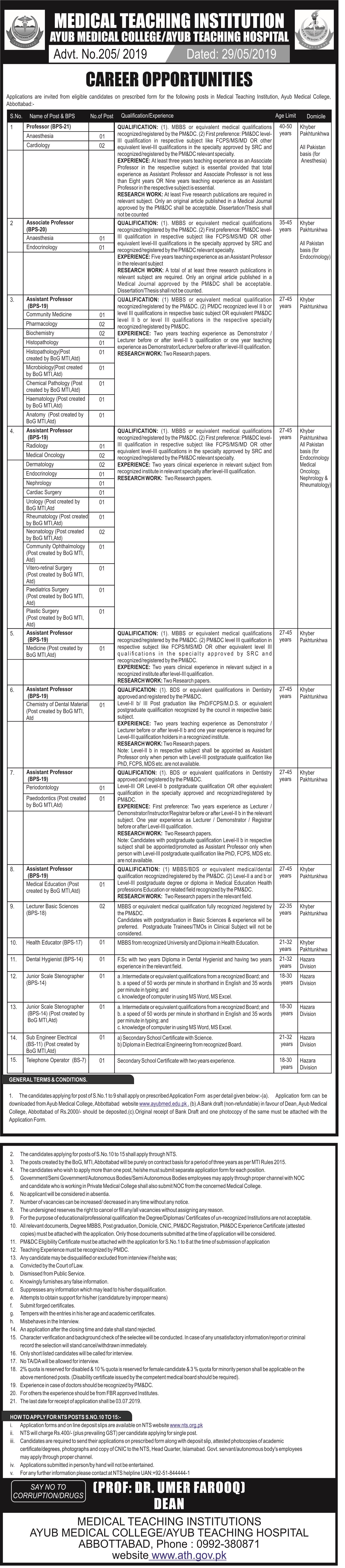 Ayub Medical Teaching Hospital Jobs 2019 via NTS
