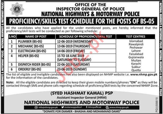 National Highways & Motorway Police NH&MP Jobs 2019