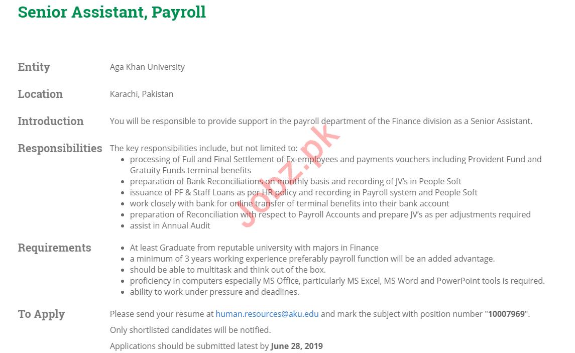 Aga Khan University AKU Karachi Jobs 2019 for Asst Payroll 2019 Job